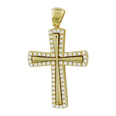 Σταυρός Βάπτισης Γυναικείος Σε Κίτρινο Χρυσό 14 Καρατίων με Πέτρες ST111131