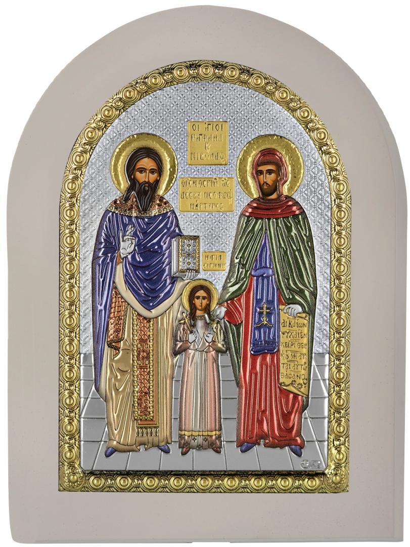 Ασημένια επίχρυση εικόνα Άγιος Ραφαήλ Άγιος Νικόλαος Αγία Ειρήνη MA-E1144-X-WC