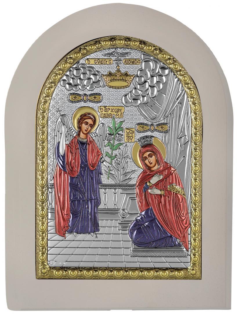 Ασημένια έγχρωμη εικόνα Ευαγγελισμός MA-E1113-X-WC