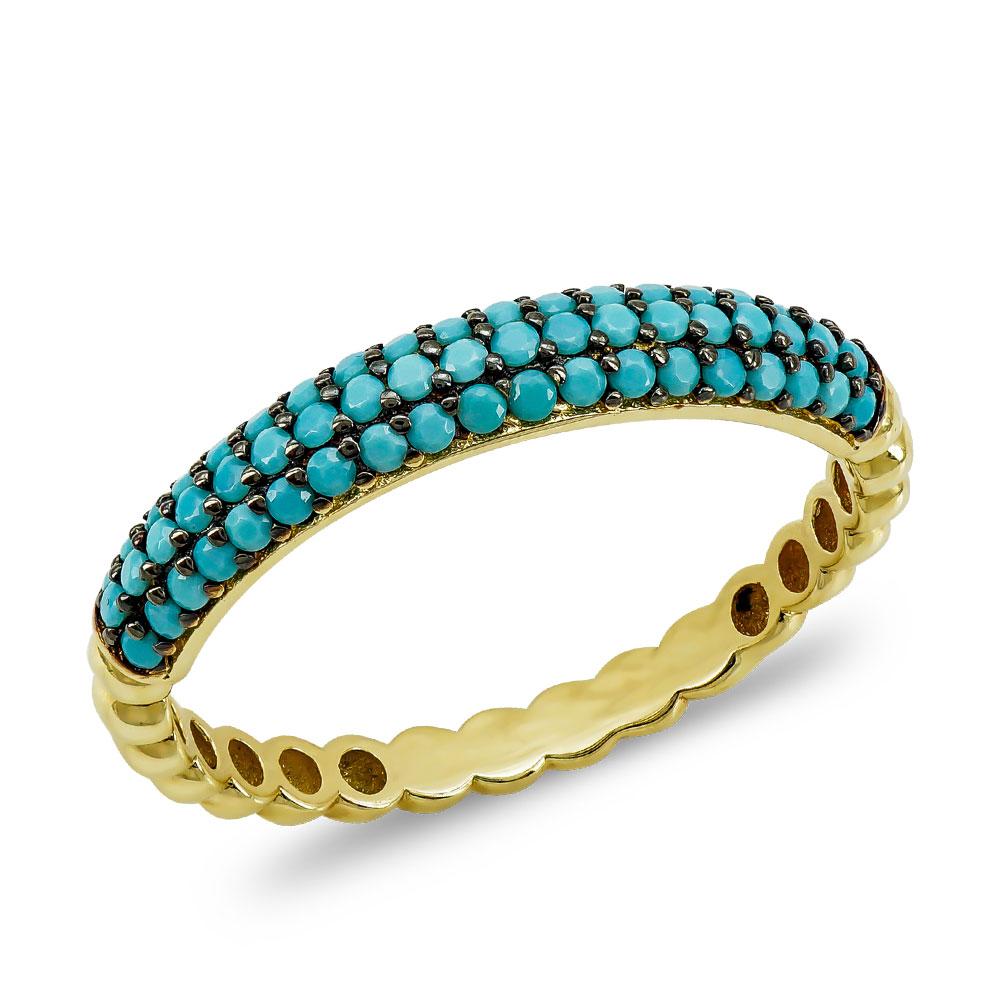 Δαχτυλίδι με Τυρκουάζ Πέτρες από Kίτρινο Χρυσό K14 DX85654