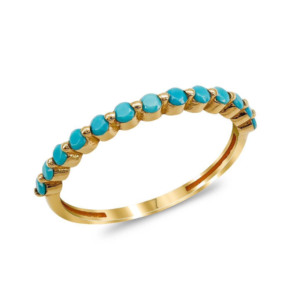 Δαχτυλίδι με Τυρκουάζ Πέτρες από Ροζ Χρυσό K14 DX90494
