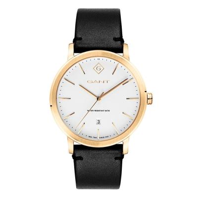 GANT Delaware Gold Black Leather Strap G122007