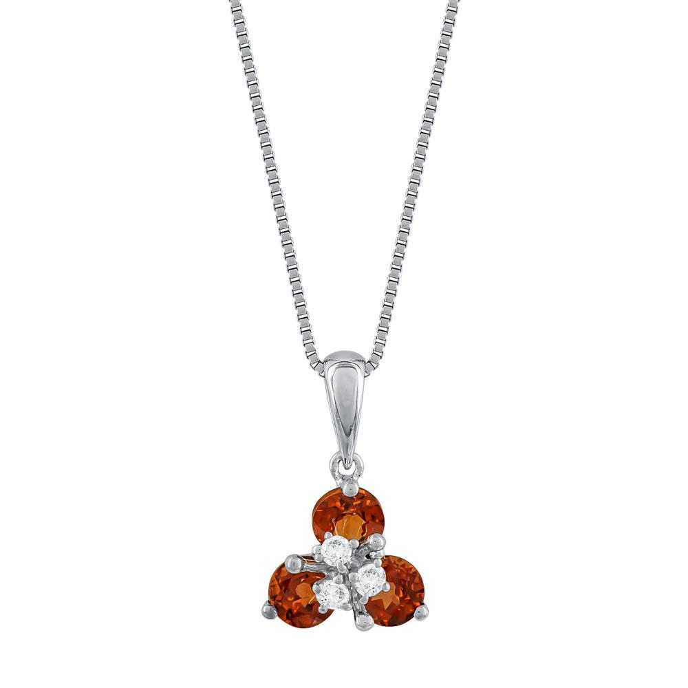 Κολιέ με Γρανάτη και Διαμάντια Βrilliant απο Λευκό Χρυσό Κ18 ΚL036491