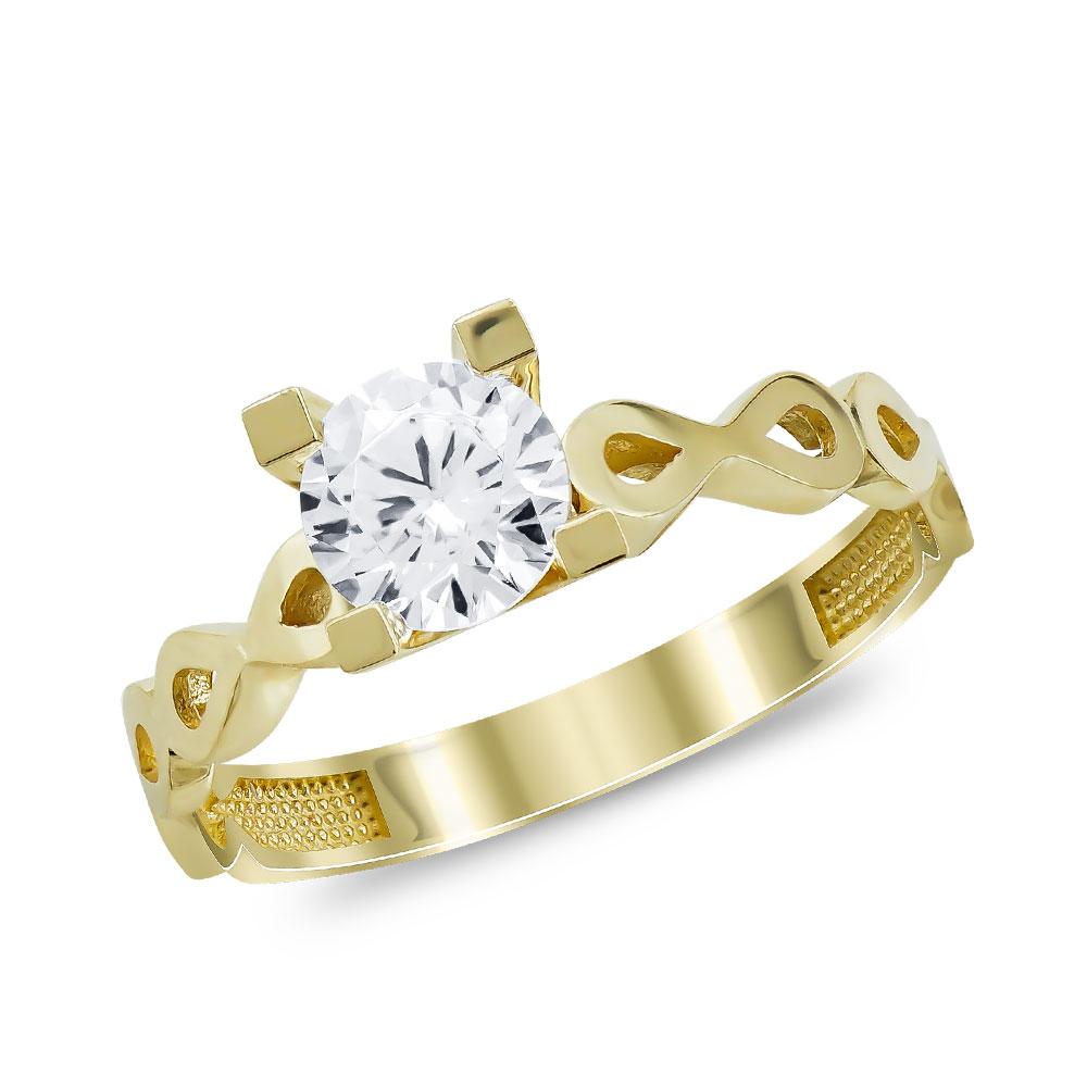 Μονόπετρο Δαχτυλίδι από Κίτρινο Χρυσό K14 DX108093