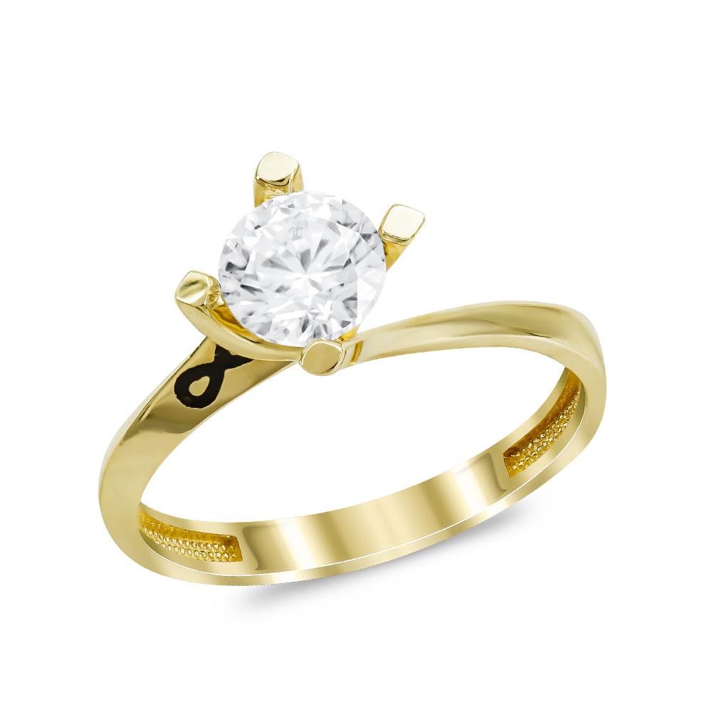 Μονόπετρο Δαχτυλίδι από Κίτρινο Χρυσό K14 DX104592