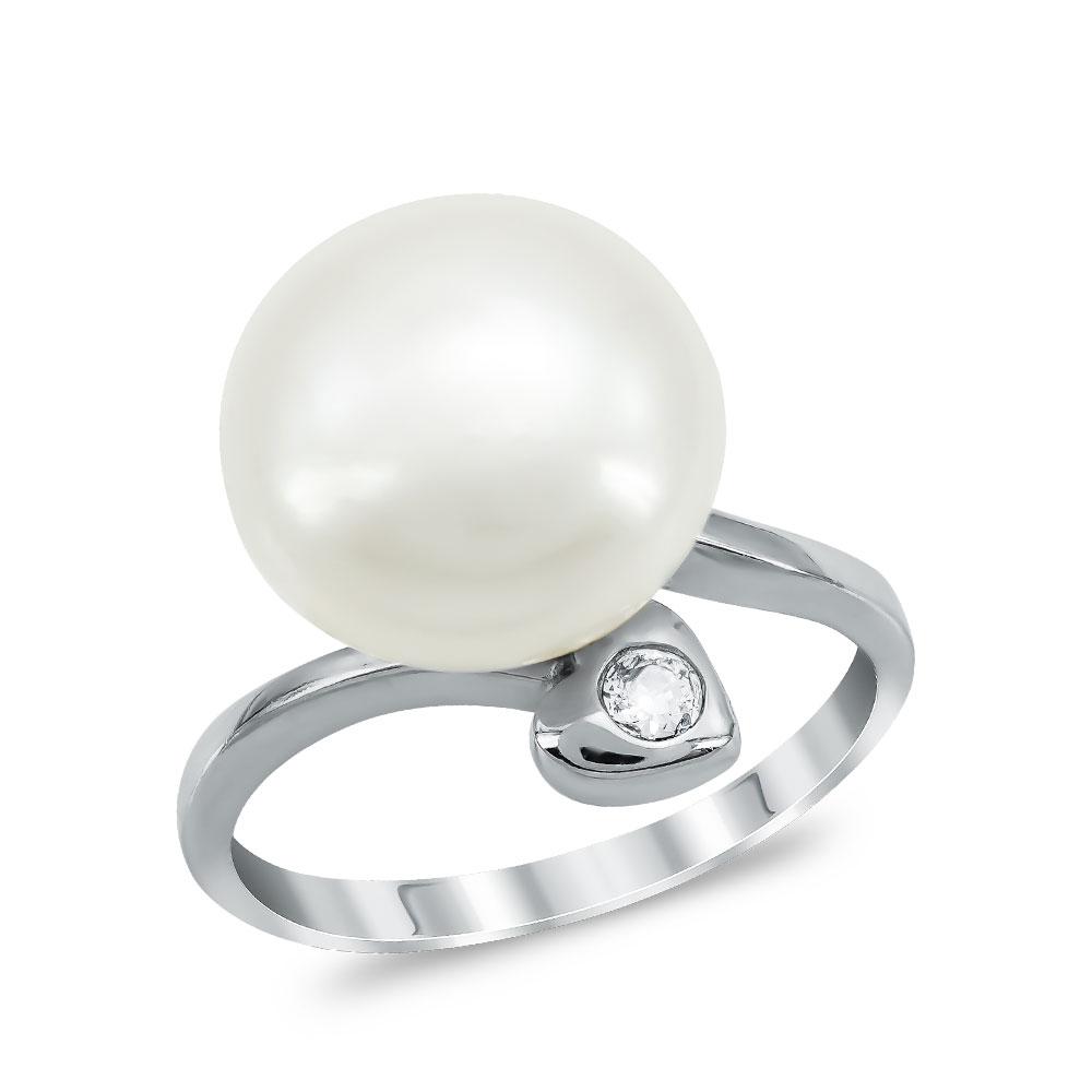 Μονόπετρο Δαχτυλίδι με Φυσικό Μαργαριτάρι από Λευκό Χρυσό K14 DX1012