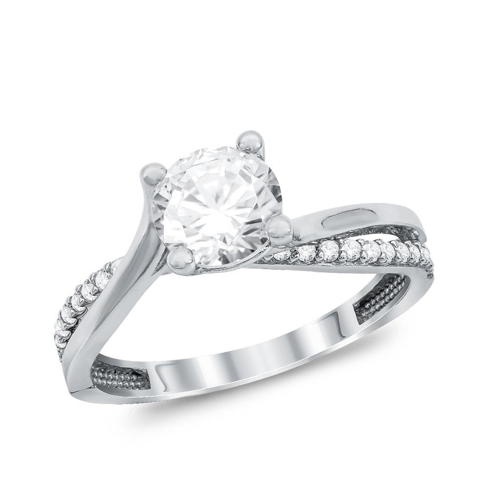 Μονόπετρο Δαχτυλίδι από Λευκό Χρυσό K14 DX104799