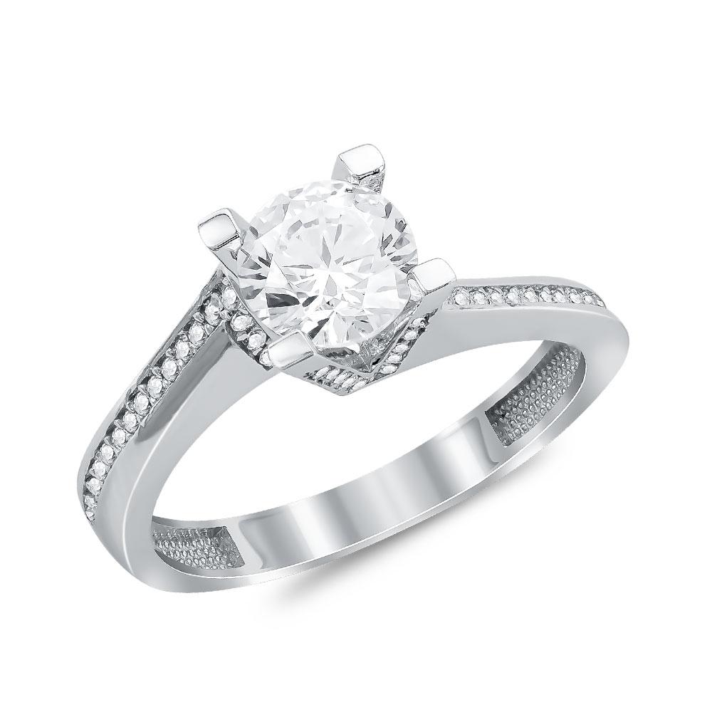 Μονόπετρο Δαχτυλίδι από Λευκό Χρυσό K14 DX108083