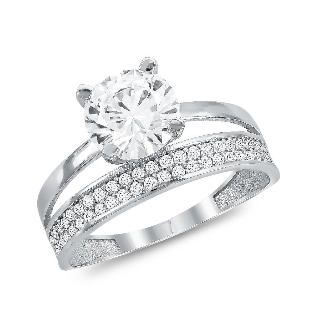 Μονόπετρο Δαχτυλίδι από Λευκό Χρυσό K14 DX112738