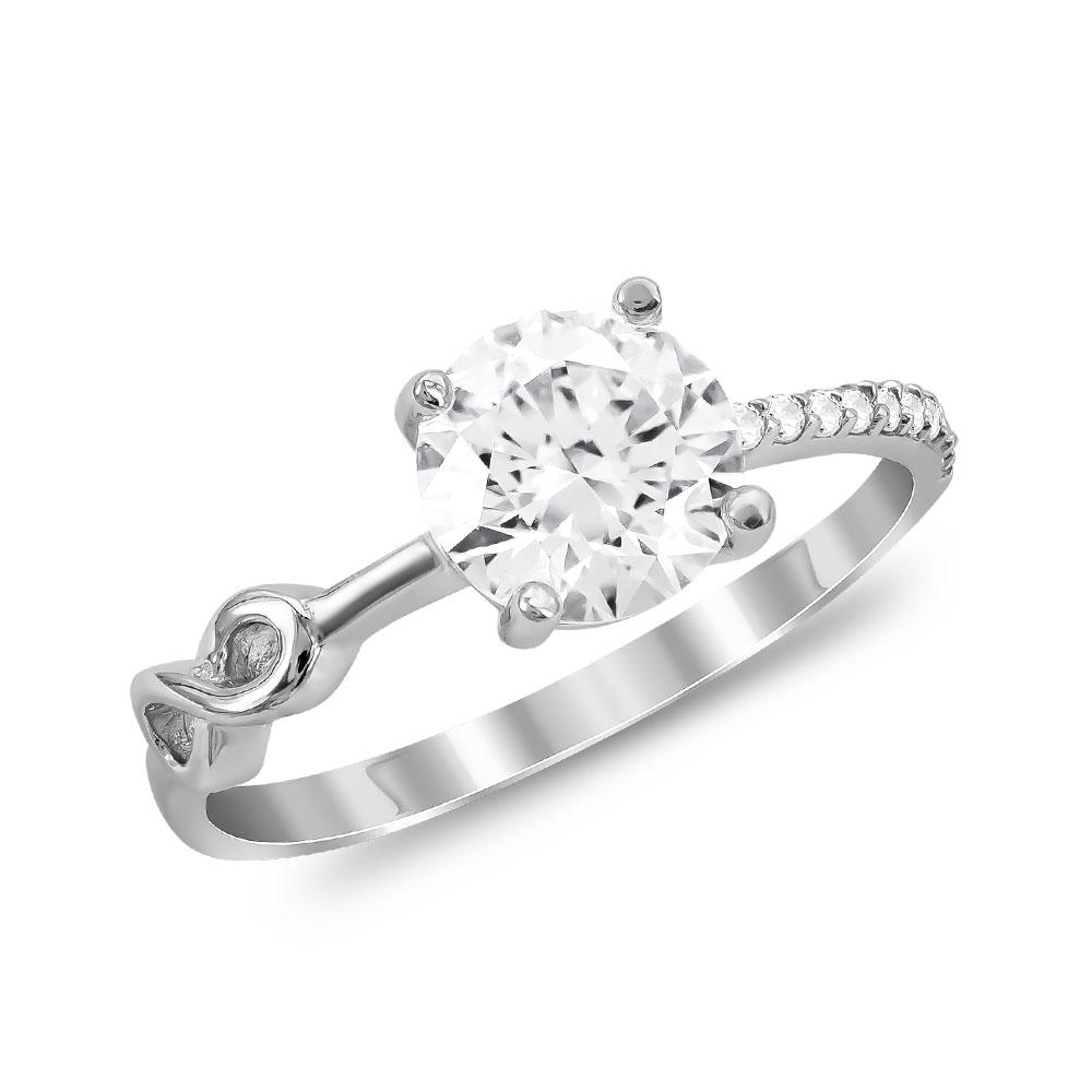 Μονόπετρο Δαχτυλίδι από Λευκό Χρυσό K14 DX90716