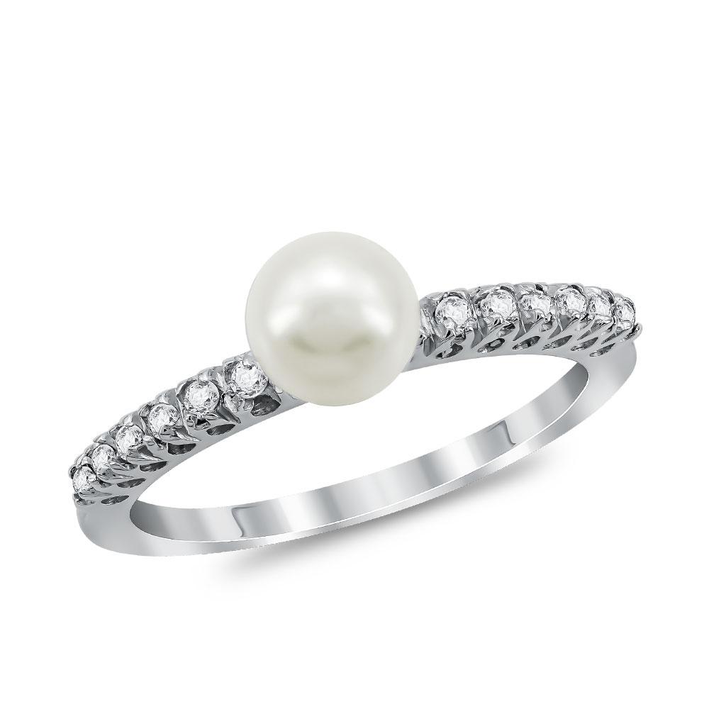 Μονόπετρο Δαχτυλίδι με Φυσικό Μαργαριτάρι από Λευκό Χρυσό K18 DX1011
