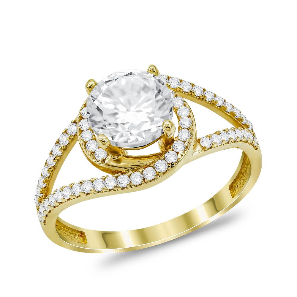 Μονόπετρο Δαχτυλίδι από Kίτρινο Χρυσό K14 DX70078
