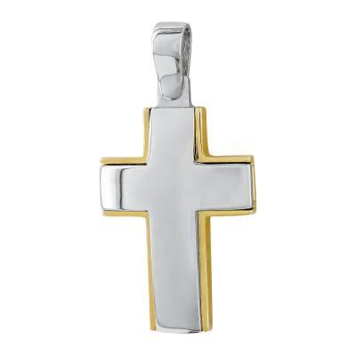 Σταυρός Βάπτισης Ανδρικός Σε Δίχρωμο Χρυσό 14 Καρατίων ST82931