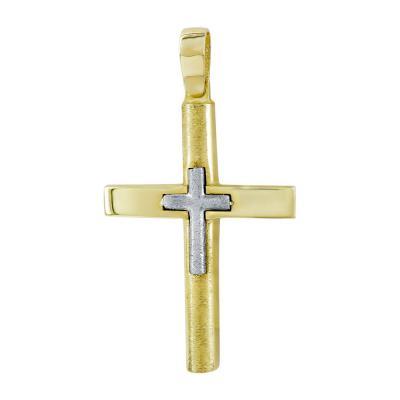 Σταυρός Βάπτισης Ανδρικός Σε Δίχρωμο Χρυσό 14 Καρατίων ST111184