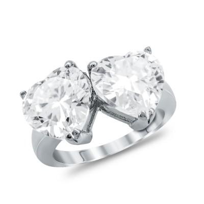 Μονόπετρο Δαχτυλίδι Καρδούλες από Ασήμι DX1158