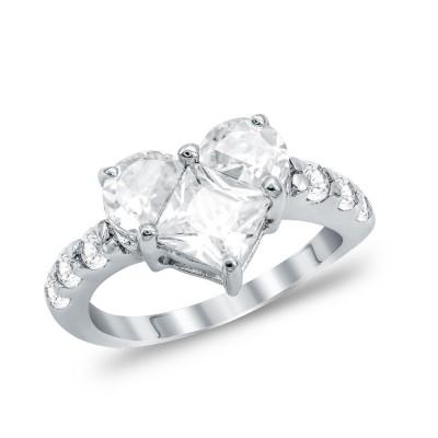 Μονόπετρο Δαχτυλίδι Καρδούλα από Ασήμι DX1156