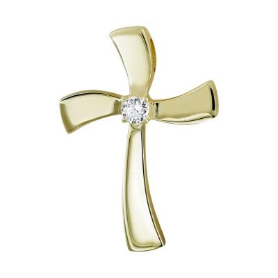 Σταυρός Βάπτισης Γυναικείος Σε Κίτρινο Χρυσό 14 Καρατίων με Πέτρες ST2837