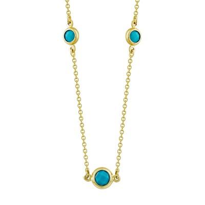 Kολιέ με Γαλάζιες Πέτρες από Κίτρινο Χρυσό K9 KL1077