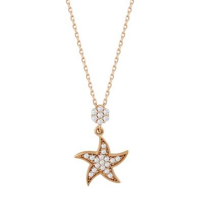 Κολιέ Aστέρι από Ροζ Χρυσό Κ14 KL111495