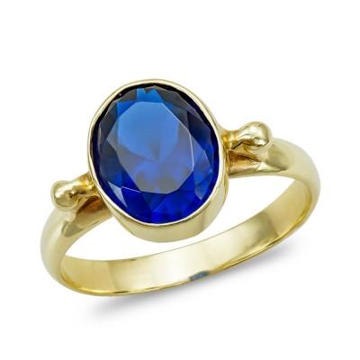 Moνόπετρο Δαχτυλίδι με Μπλε Πέτρα από Κίτρινο Χρυσό K14 DX1063