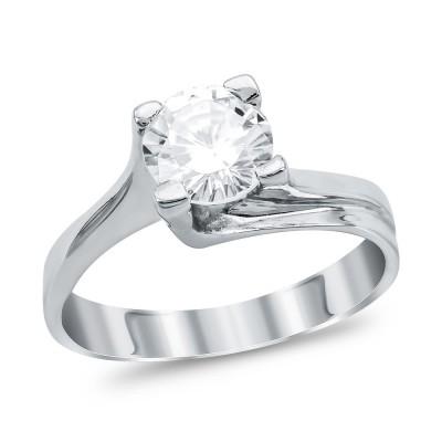 Mονόπετρο Δαχτυλίδι από Λευκό Χρυσό K18 DX1099