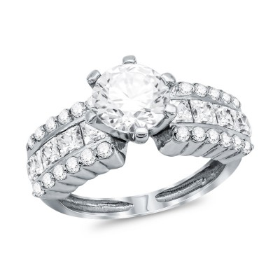 Mονόπετρο Δαχτυλίδι από Λευκό Χρυσό K14 DX1100
