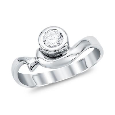 Mονόπετρο Δαχτυλίδι από Λευκό Χρυσό K14 DX1116
