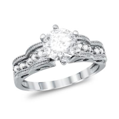 Mονόπετρο Δαχτυλίδι από Λευκό Χρυσό K14 DX1119