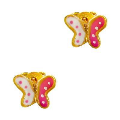 Παιδικά Σκουλαρίκια Πεταλούδες από Επιχρυσωμένο Ασήμι PSK472