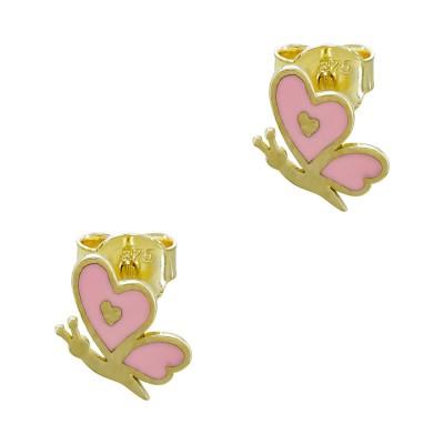 Παιδικά Σκουλαρίκια Καρδούλες από Κίτρινο Χρυσό Κ9 PSK476