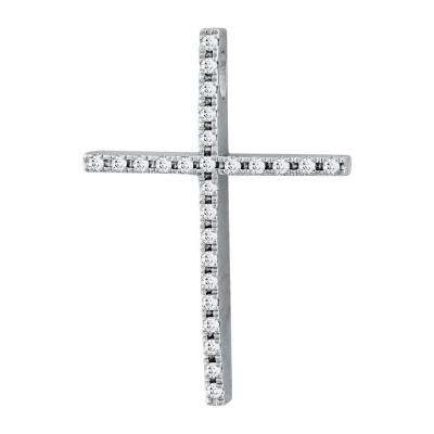 Σταυρός Βάπτισης Γυναικείος Σε Λευκό Χρυσό 18 Καρατίων Με Διαμάντια Brilliant ST2814