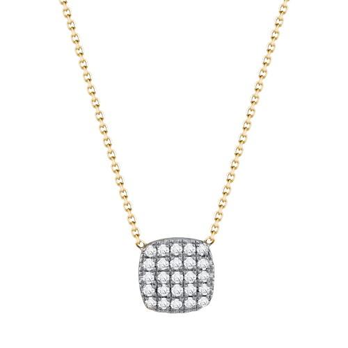 Κολιέ Μονόπετρο και Διαμάντια Βrilliant απο Κίτρινο Χρυσό Κ18 ΚL1089