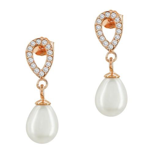 Σκουλαρίκια από Ροζ Επιχρυσωμένο Ασήμι με Πέτρες και Φυσικό Μαργαριτάρι SK1294