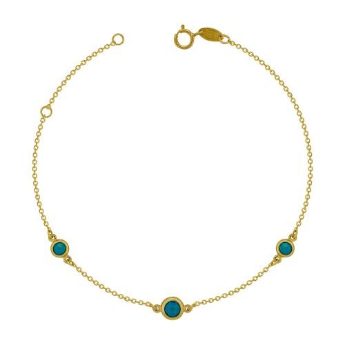 Βραχιόλι με Γαλάζιες Πέτρες από Kίτρινο Χρυσό Κ9 VR809
