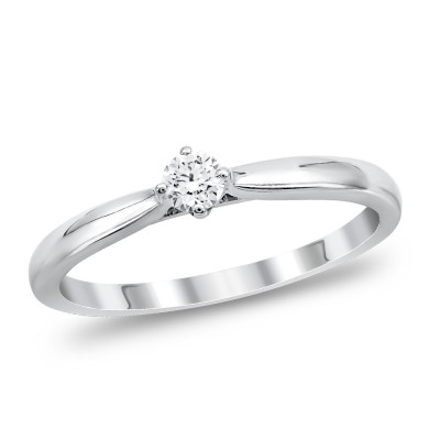 Μονόπετρο Δαχτυλίδι Με Διαμάντια Brilliant από Λευκό Χρυσό K18 DDX295