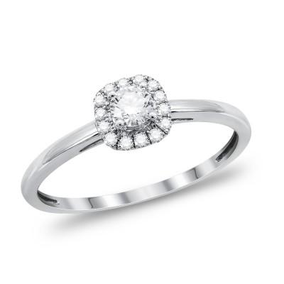 Μονόπετρο Δαχτυλίδι Με Διαμάντια Brilliant από Λευκό Χρυσό K18 DDX289