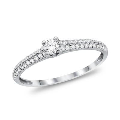 Μονόπετρο Δαχτυλίδι Με Διαμάντια Brilliant από Λευκό Χρυσό K18 DDX290