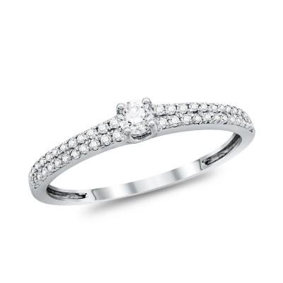 Μονόπετρο Δαχτυλίδι Με Διαμάντια Brilliant από Λευκό Χρυσό K18 DDX293