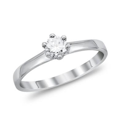 Μονόπετρο Δαχτυλίδι Με Διαμάντια Brilliant από Λευκό Χρυσό K18 DDX294