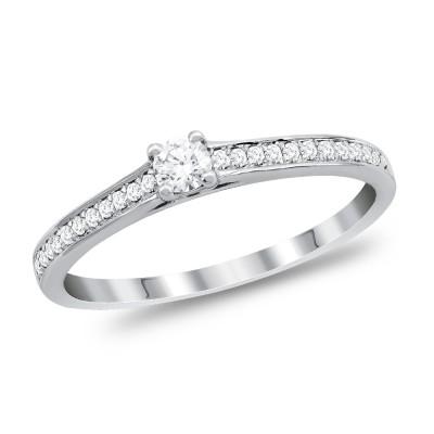 Μονόπετρο Δαχτυλίδι Με Διαμάντια Brilliant από Λευκό Χρυσό K18 DDX291