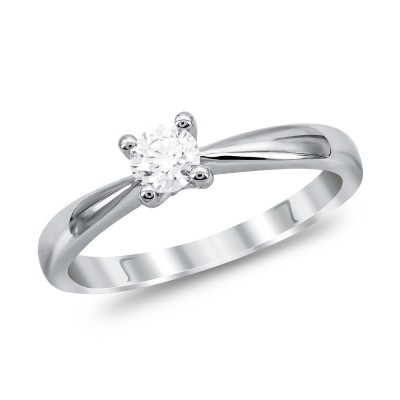 Μονόπετρο Δαχτυλίδι Με Διαμάντια Brilliant από Λευκό Χρυσό K18 DDX288