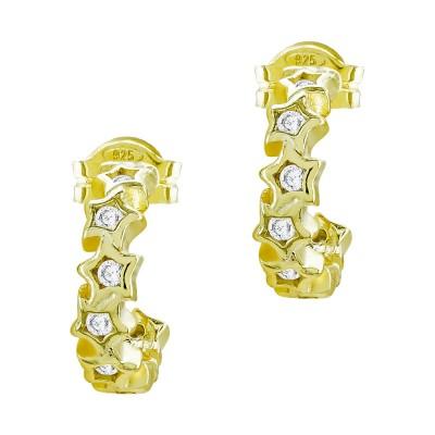 Σκουλαρίκια από Επιχρυσωμένο Ασήμι Αστεράκια SK1302