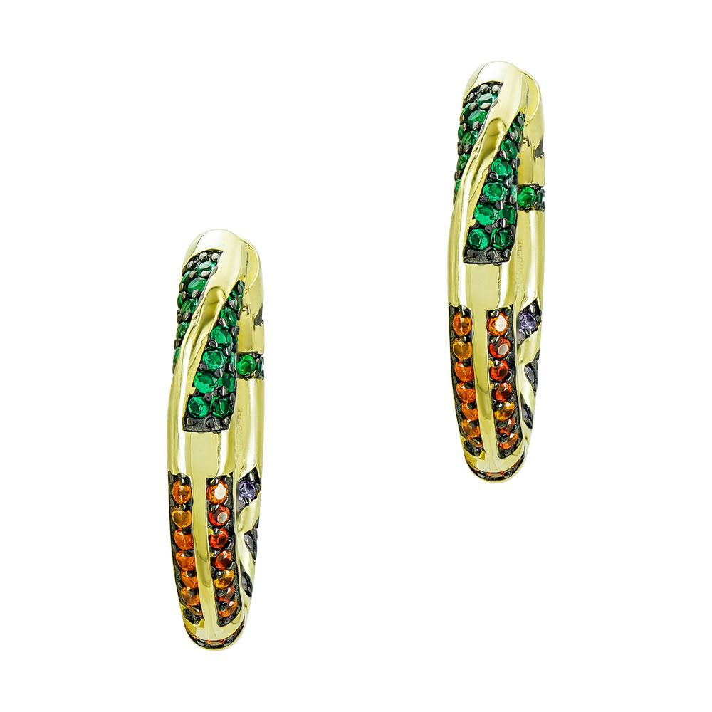 Σκουλαρίκια Kρίκοι από Eπιχρυσωμένο Ασήμι SK1322