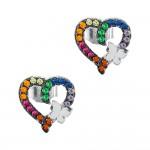 Σκουλαρίκια Καρδούλες με Πεταλούδα από Ασήμι SK1310