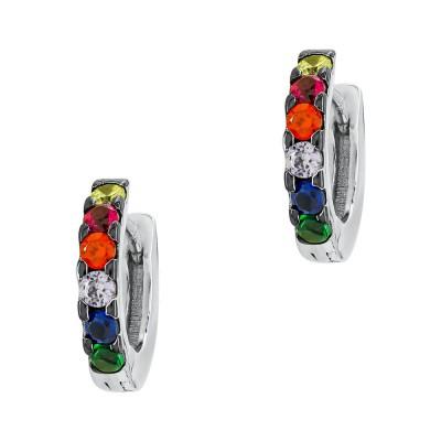 Σκουλαρίκια με Χρωματιστές Πέτρες απο Ασήμι SK1308
