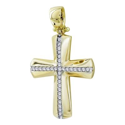 Σταυρός Βάπτισης Γυναικείος Σε Κίτρινο Χρυσό 14 Καρατίων με Πέτρες ST2817