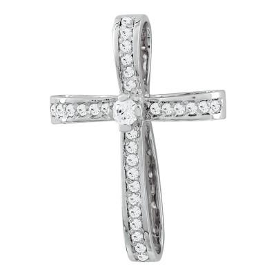 Σταυρός Βάπτισης Γυναικείος Σε Λευκό Χρυσό 14 Καρατίων με Πέτρες ST2820