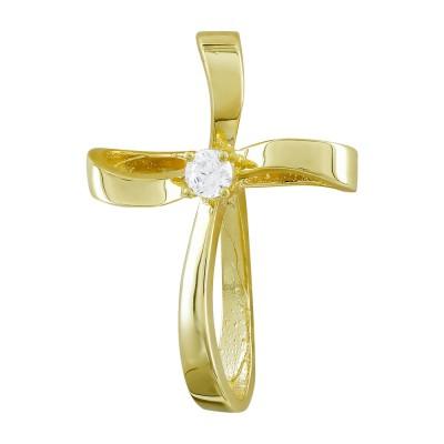 Σταυρός Βάπτισης Γυναικείος Σε Κίτρινο Χρυσό 14 Καρατίων με Πέτρες ST2818