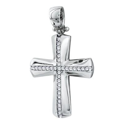 Σταυρός Βάπτισης Γυναικείος Σε Λευκό Χρυσό 14 Καρατίων με Πέτρες ST2819