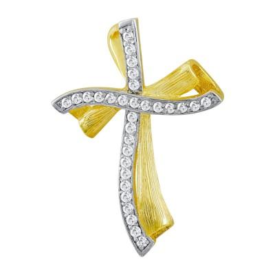 Σταυρός Βάπτισης Γυναικείος Σε Δίχρωμο Χρυσό 14 Καρατίων με Πέτρες ST2825